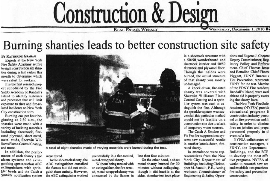 Burning shanties leads to better construction site safety